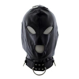 Halka Açık Deri Seks Ağız Kısıtlama Göz PU Fetiş Flört Seks Oyuncakları Ürünleri Oyun Bondage Sex With Love Yetişkin Hood Mask Adu Tlkk Maske