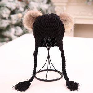 Fashion Children Baggy Warm Crochet Winter Wool Knit Ski Beanie Skull Slouchy Hat Knitted Hat Twist Braid Ear Cap Beanie