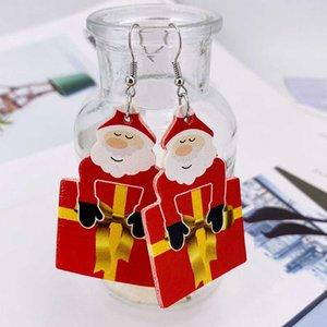 Neue Weihnachts-Ohrringe Weihnachtsbaum Glocken Santa Claus Elch Leder Ohrringe Weihnachtsschmuck Party Geschenke HWA2001