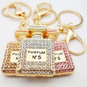 Adojewello Jóias 3Colors Rhinestone cristal Twinkling Frasco de perfume Keychain Chaveiro presente para as meninas bolsa Chram Atacado