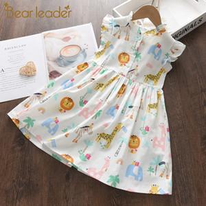 Bear líder cartoon imprimir meninas princesa vestido novo moda verão vestidos florais criança criança festa roupas vestido