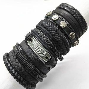 Black 10pcs set Brown Woven New Fashion Handmade Men Bracelets Male Women Leather Bracelet Tree Bracelets Wholesale Jewe jllqqp