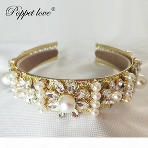 Wholesale Gold Prom Accessories Baroque Queen Women Crown Round Imperial Medieval Gold Rhinestone Tiara Y19051302