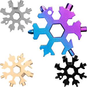 Flocon de neige multi outil 18 en 1 Clé flocon de neige Multitool décapsuleurs multi Porteclés vélo Fix outil de Noël flocon de neige cadeau