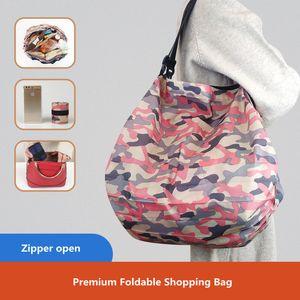 접이식 쇼핑 에코 - 친화적 인 재사용 휴대용 어깨 핸드백 여행 식료품 패션 포켓 토트 백 Q1230
