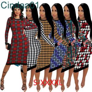 Women Dresses Designers Plus Size Clothes 2021 Fashion Slim Sweater Casual Loose Dress Long Sleeve Crew Neck Irregular Print Ladies Dress