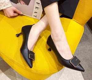 2021 single shoe women's Autumn winter fashion new shoes women's buckle thin heel Korean version fashion pointed leather high heel shoes