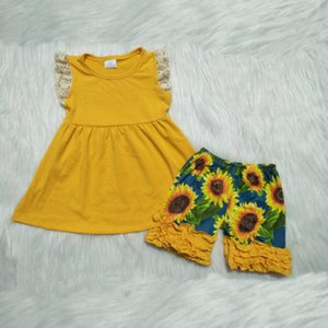 Fashion girl baby clothes yellow lace sleeve dress kids clothes baby girl designer clothes personality sunflower print shorts suit tide