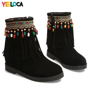 YEELOCA Boots women winter round toe flat with fringe flock nubuck med heels mid calf casual shoes woman