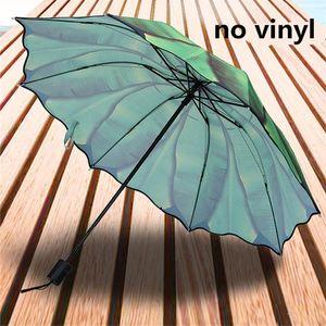 Creativo Banana Leaf Umbrella duplice uso pieghevole in plastica nera protezione solare ombrellone piccole foglie fresche creativo Banana wmtbJM homeindustry