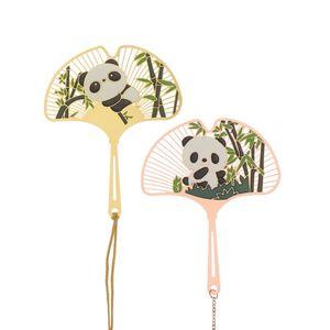 Gruppo Fan Shape Metal Pendant Pendant Markers Stile cinese Brass Tassel Segnalibri Retro Panda Panda Hollow Out Book clip
