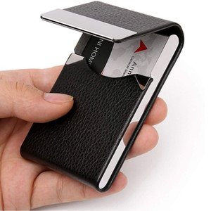 Card Holder Personalized Business Card Holder Leather Aluminum Metal Name Card Case Box For Men Woman