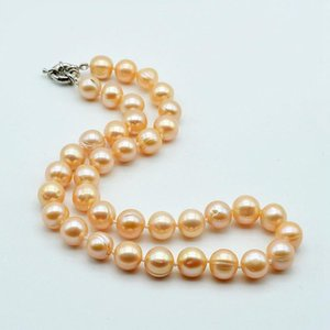 Pink pearl necklace, natural freshwater pearls, large particles, diameter 11-12 mm, ladies engagement necklace
