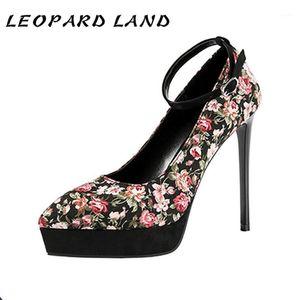 Leopard Land Sexy Sexy Sapatos High-Heeled Sapatos Impermeáveis Plataforma Noite Clube com Sandálias Femininas Padrão Stiletto Heels LSJ1