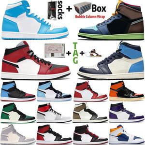 2021 Yeni 1 yüksek OG basketbol ayakkabıları 1s en iyi Chicago Kraliyet Burun Siyah Metalik Altın Çam Yeşil UNC Patent erkekler kadınların Sneakers eğitmenler