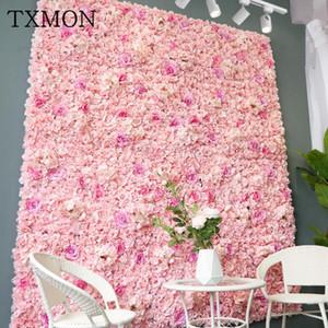 Txmon de alta calidad 45 * 65cm Seda rosa flor artificial decoración de la boda pared de la flor romántica para la decoración del fondo de la boda