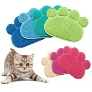 Paw Shape Dog Cat Feeding Mat Pad Pet Dish Bowl Food Water Feed Placemat Table PVC Mat 30cm x 40cm SN4853