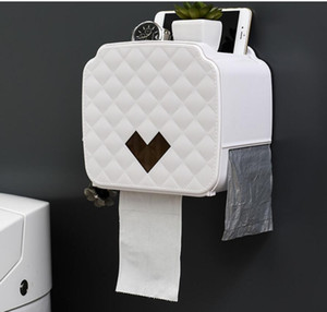 Toilet Roll Holder Waterproof Paper Towel Holder Wall Mounted Wc Roll Paper Stand Case Tube Storage Box Bathroom Accessories ju0356