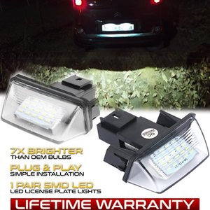 2x For 206 207 306 307 308 406 407 5008 Partner Car LED License Number Plate Light Lamps Auto Accessories Car Styling