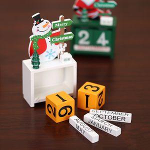 Decorazioni di Natale Countdown Calendar ornamenti di Natale regali creativi Mini legno anziana Desk Calendar Fai da te Desktop ornamenti GWA1978