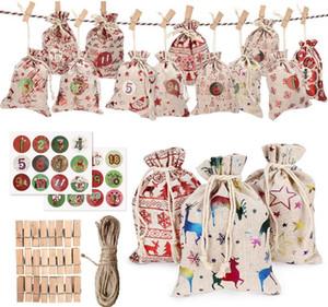quente árvore pendurado pequena bolsa de pano de Natal saco advento saco do presente calendário decorações de Natal amado pelas crianças SN1573