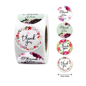 "free shipping roll ""Thank You"" Sealing Sticker Floral Love Handmade Label Pink Commercial Sticker"