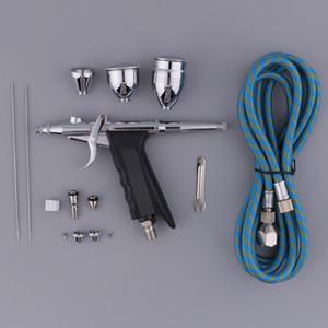 3 Советы 3 Чашки Professional Универсальная Сила тяжести одинарного действия Spray Gun Trigger аэрографа Kit Set