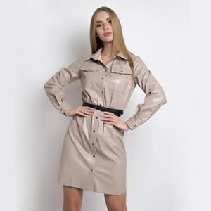Dabourfeel الأزياء بو الجلود النساء اللباس عارضة جيوب الحزام زر اللباس كم طويل اخفض الياقة مكتب سيدة الشارع الشهير