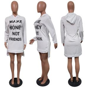 Hacer dinero no Vestido Amigos Carta largo invierno de las mujeres suéteres con capucha camiseta vestidos con capucha otoño de manga larga de una sola pieza vestido D102201