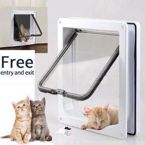 Pet Door 4 Way bloqueável Segurança Flap porta para Kitten Cat Dog Wall Mount Pequenos Animais Pet Cat Dog Portão