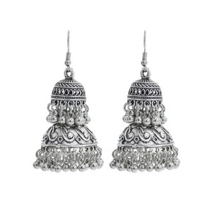 Vintage Indian Pagoda Shape Dangle Earrings with White Tassel Beads Bell Earrings for Women Party Jewelry