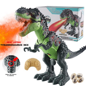 Interactive Toys For Children Remote Control Electronic Dinosaur Toy ABS Walking Dinosaurs Simulation Spray Christmas Gift LJ201105