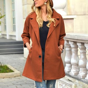 Autumn Winter Coat Women Elegant Woolen Coat Turn-down Collar Solid Color Wild Loose Comfortable Outwear Women's Clothing