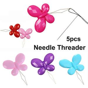 Borboleta fio 5PCS Needle Threader Bordado Ponto Cruz inserção ferramentas fáceis de agulha automática Threader cor aleatória
