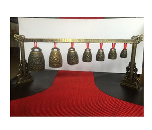 Meditation Gong with 7 Ornate Bell with Dragon Design Chinese Musical Instrument.