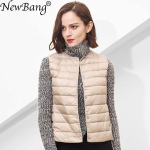 NewBang Matt Fabric Women's Warm Vests Ultra Light Down Vest Women Waistcoat Portable Warm Sleeveless Winter Liner 201015