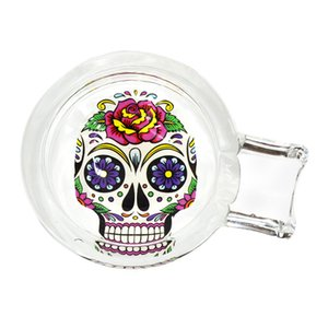 112mm*69mm glass ashtray Skull glass ashtray new style hot sale multi-pattern cleaning container portable ashtray bong