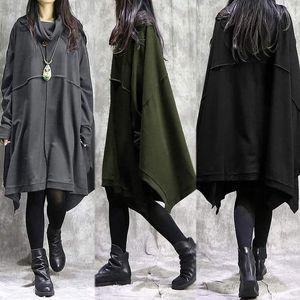 Femmes Sweatshirts Robe Zanzea 2020 Printemps Turtlameneck Sundress Manche Longueur du genou Vestidos Femme Asymétrical Robe Plus