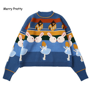 Merry Pretty Women Thick Warm Sweaters Embroidery Student Jumper Knitted Pullovers Female Drop Shoulder Sweet Funny Sweater 201017