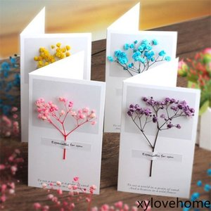 Flowers Greeting Cards Gypsophila dried flowers handwritten blessing greeting card birthday gift card wedding Anniversary invitations Letter