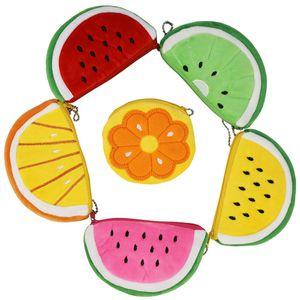 Fruit Plush Coin Purse Case Creative Cartoon Children's Coins Storage Bag Pencil Cases Key Chain Portable Card Holder