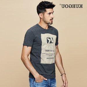 KUEGOU хлопок спандекс футболка с коротким рукавом печать летняя футболка мужская черная белая мужская футболка тонкий TOP MT-1642