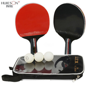Huieson 2pcs lot Table Tennis Bat Racket Double Face Pimples In Long Short Handle Ping Pong Paddle Racket Set With Bag 3 Balls 201209