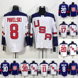 2016 Copa do Mundo Em Branco Equipe EUA Hóquei Jerseys 8 Joe Pavelski 11 Zach Parise 17 Ryan Kesler 20 Suter 30 Ben Bispo Taça do Mundo de Hóquei Jersey