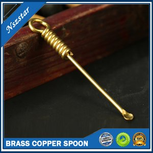 Brass Copper Spoon Wax Dabber Tools for Vape Pen Silicone Mat Container Atomizer Tank 77mm Dab Jar Smoking Tool GOLD Nail Dabber DH