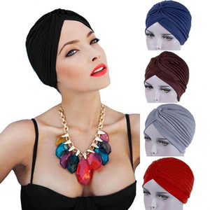 Muslim Lady New Autumn Fashion Femme Plicated Hats Casual Solid Color Hats Cap Apparel Head Decoration