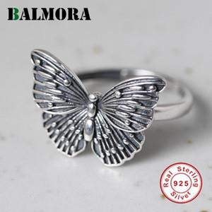 Kadınlar Lady Açık Ayarlanabilir Parmak Halkası Vintage Moda Yüzük Mücevherat için Balmora% 100 Gerçek 925 Gümüş Kelebek Yüzük