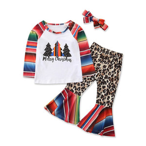 Baby Girls Xmas Outfits Splice Long Sleeve Tops Kids Clothes Girls Cartoon Clothing Sets Leopard Printed Elastic Pogoda Pants Suit 061013