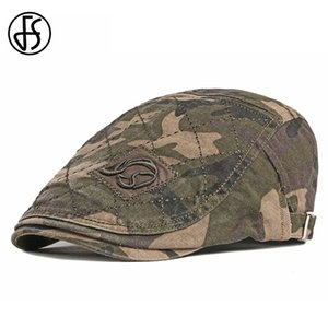 FS New Vintage Flat Cap Camouflage Big Size Summer Outdoor Men Women Caps Hats Berets Army Green Khaki Boinas Masculina 201026