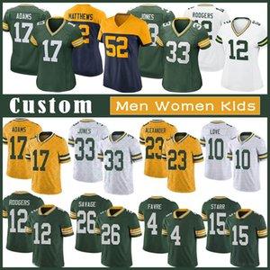 12 Aaron Rodgers Özel Erkek Kadın Kid Futbol Jersey 33 Aaron Jones 17 Davante Adams 87 Jordy Nelson 23 Jaire Alexander 83 Valds-Scantling